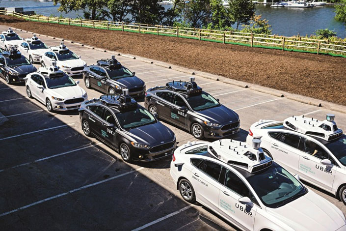 Uber Technologies Inc. showcases a fleet of self-driving cars in Pittsburgh, Pennsylvania, in September 2016. Photo: IC