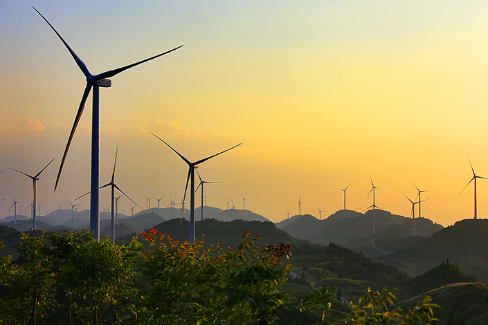 Wind turbines are seen in Hubei province.  China will launch a green certification for renewable energy later this year. Photo: Visual China