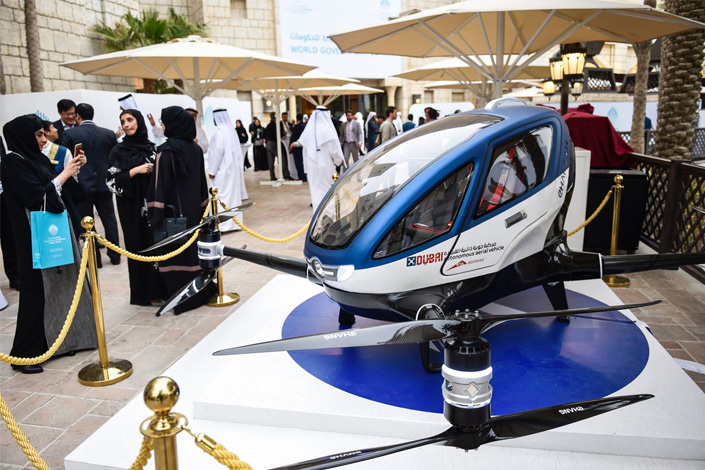An EHong 184 drone is displayed at the World Government Summit 2017 at the Madinat Jumeirah resort in Dubai, United Arab Emirates, on Tuesday. Photo: IC
