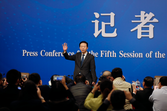 Finance Minister Xiao Jie arrives for a news conference on the sideline of the National People's Congress at the media center in Beijing on Tuesday. Photo: IC