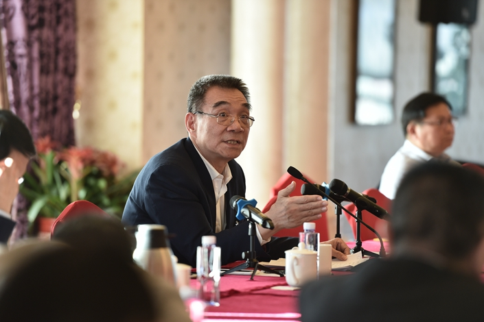 Justin Yifu Lin, a member of the Chinese People's Political Consultative Conference (CPPCC) and a former chief economist of the World Bank, speaks during a group discussion that took place on March 6 during the joint meetings of the National People's Congress and the CPPCC in Beijing. Photo: IC