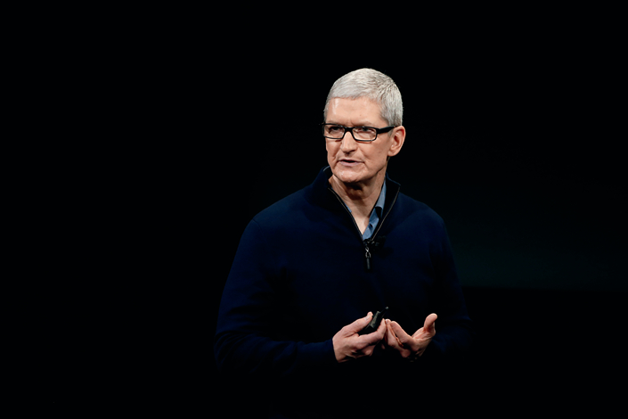 Apple CEO Tim Cook speaks during a product launch event in Cupertino, California, on Oct. 2. Photo: Visual China