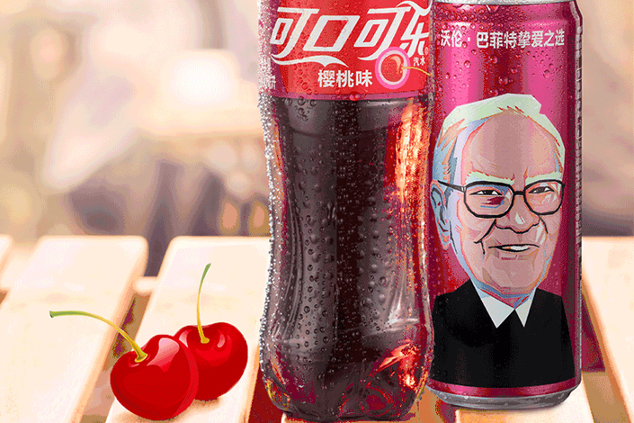 Warren Buffett's face has been gracing limited-edition cans of Cherry Coke in China since the drink's rollout in the country on March.10. Photo: The Coca-Cola Co.
