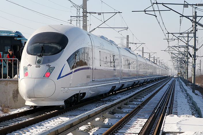 A model CRH380 locomotive is being tested at CRRC's factory in Changchun, Jilin province in December 2015. China's top train maker saw both its revenue and profit fall by double digits in the first quarter amid tepid domestic demand. Photo: Visual China