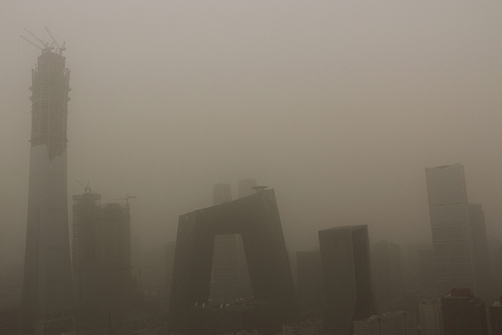 China Central Television building in down Beijing covered in thick, dusty on May 4. (Photo: Visual China)