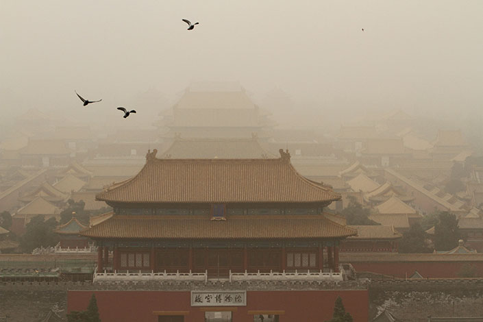 View of the Forbidden City in a sandstorm in Beijing, China, on May.4, 2017. A sandstorm swept over large swathes of north China including Beijing, turning the sky yellow and obscuring visibility. Photo: IC