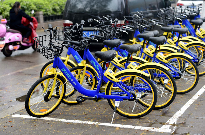 Youon Bikes has been sued for patent infringement by a Jiangsu businessman who says the company stole his bike-sharing idea.  Photo: Visual China