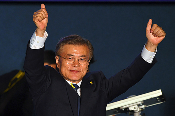 Newly elected South Korean President Moon Jae-in has promised to work with China and the U.S. to ease diplomatic tensions over his country's deployment of a U.S. anti-missile defense system. Photo: Visual China