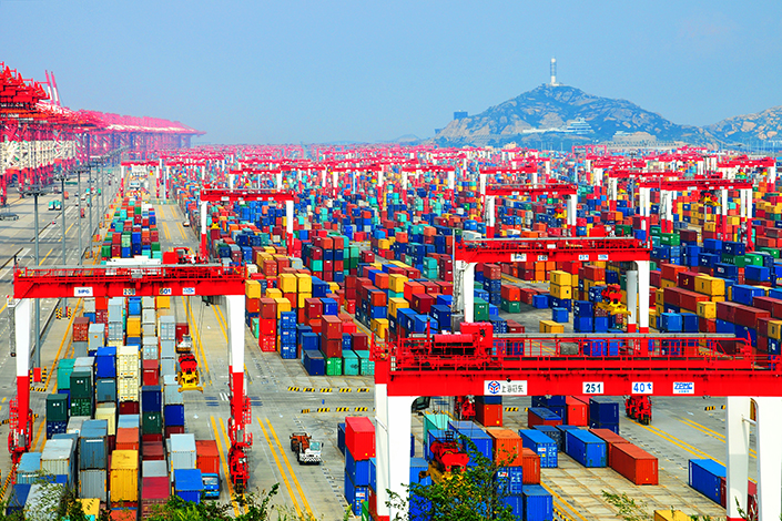 Stacks of containers lie at Shanghai Port. The world's busiest port has been battling severe congestion for more than a month. Photo: IC