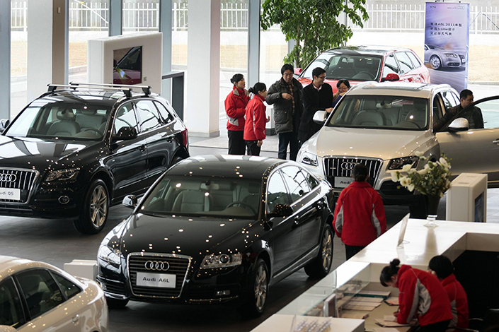 Audi dealers sell Audi sedans and SUVs at a dealership in Nanjing in 2011. Photo: Visual China