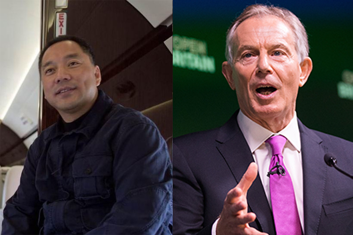Chinese businessman Guo Wengui(L) and former British Prime Minister Tony Blair(R).