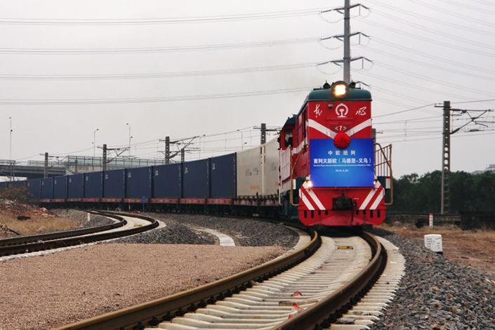 China rail freight rose sharply in the first five months of 2017, reversing a continuous decline since 2012. Above, the first YXE international container train traveling from Yiwu, Zhejiang province, to Madrid as part of the