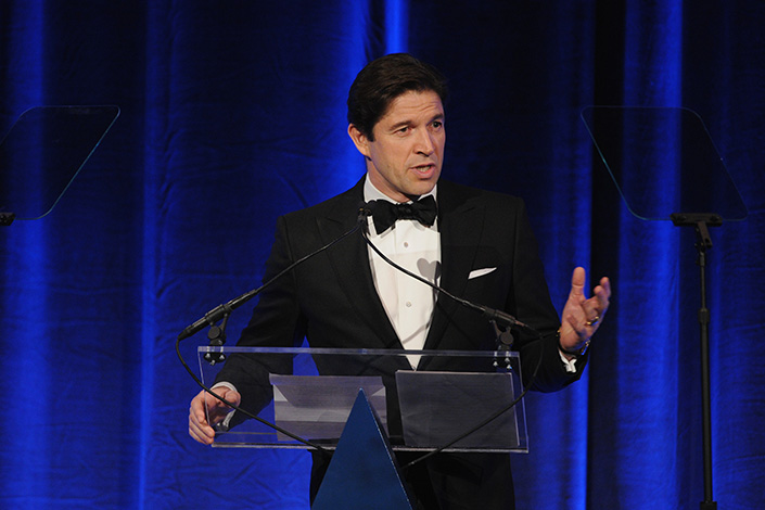 Bally CEO Frederic de Narp speaks onstage at the 18th Annual Accessories Council ACE Awards in New York, U.S., on Nov. 3, 2014. Photo: Visual China