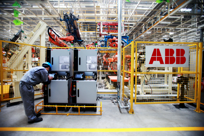 ABB Group has developed ABB Ability, a tool to help industrial customers digitize their manufacturing processes. Above, a Great Wall Motors worker uses ABB equipment in Tianjin in August 2011. Photo: Visual China