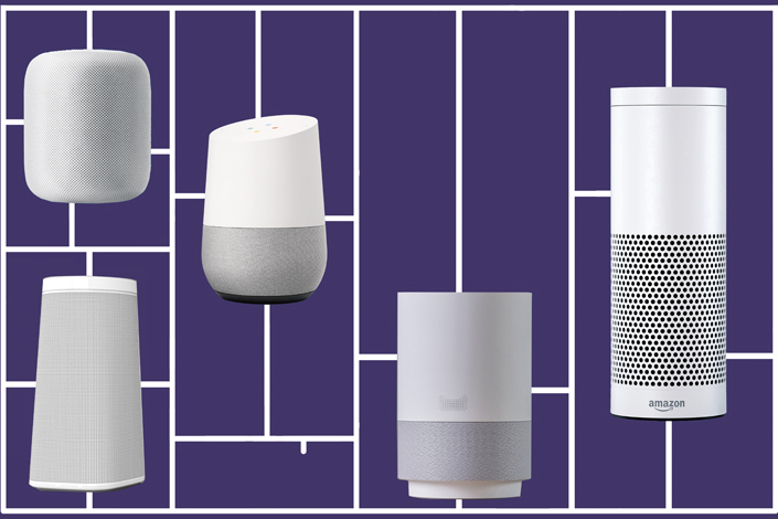 Chinese tech giants have jumped into the smart speaker market in what will likely be a battle for the artificial intelligence-powered living room. Above, Apple's Home Pad (top left), JD.com's Dingdong Smart Speaker (bottom left), Google Home (second from the left), Alibaba's Tian Mao Jing Ling X1 Smart Speaker (third from the left) and the Amazon Echo (fourth from the left). Photo: Caixin