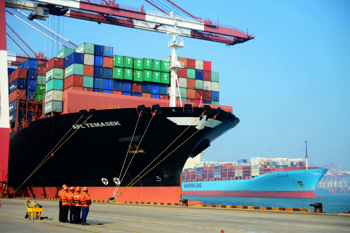 A container liner at the international container terminal at Port of Qingdao, Shandong province on Thursday. Photo: IC