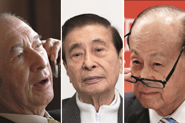 Stanley Ho, Lee Shau-kee and Li Ka-shing (from left to right) represent the first generation of Hong Kong's business tycoons, who accumulated massive wealth during British rule and after the Chinese mainland's economy opened up. However, as times change and competition from the Chinese mainland picks up, Hong Kong's economy is no longer dominated by tycoons or the businesses they control. Photo: Visual China