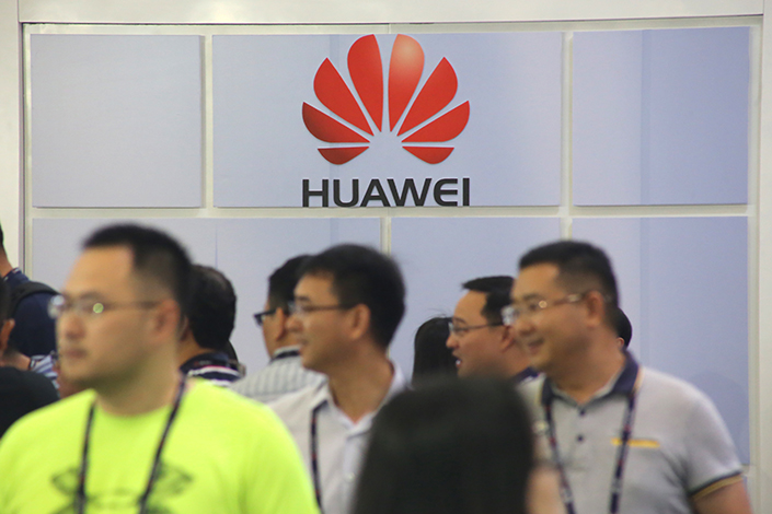 Huawei Technologies Co. Ltd. is still working to get a foothold in the American market despite a series of setbacks in recent years. Above, a Huawei logo is seen at the 2017 Mobile World Congress in Shanghai on June 29. Photo: IC