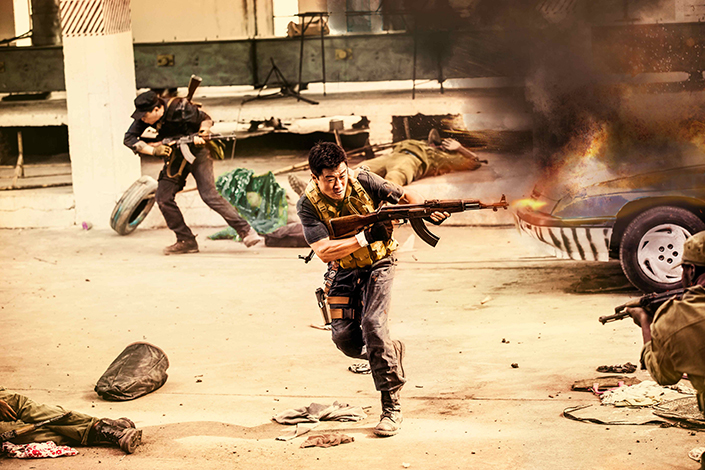 """The action-packed """"Wolf Warrior II,"""" starring Wu Jing (firing gun) as the ex-soldier Leng Feng, has rescued China's sagging movie sales, becoming the top-grossing Chinese-language film of all time. Photo: IC"""