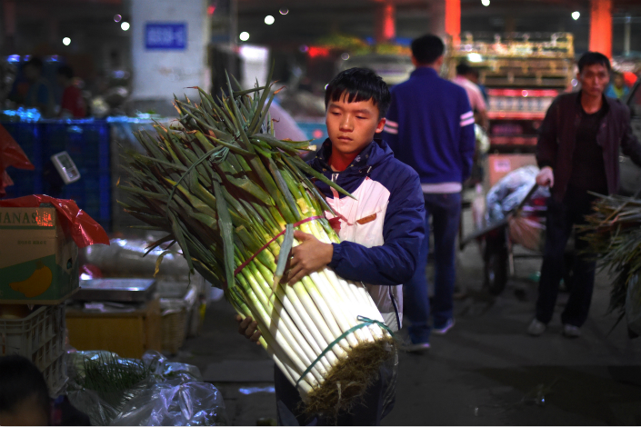 The consumer price index — a gauge of prices of a basket of consumer goods and services — rose 1.4% year-on-year, marginally lower than the 1.5% pace in June, as food prices continued to fall and nonfood costs increased the least this year. Above, a man carries scallions in Qingdao, Shandong province, in October. Photo: Visual China