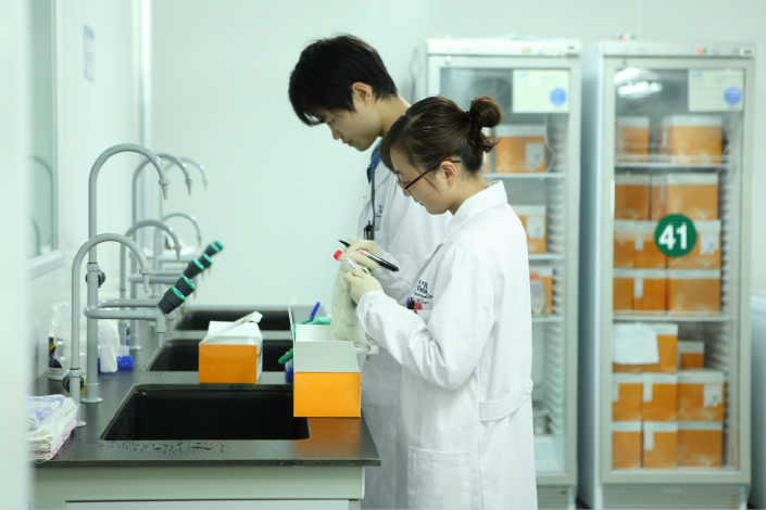 Berry Genomics, one of the largest rivals to government-backed genomics giant BGI, injected all of its 4.3 billion yuan ($646 million) in assets into Chengdu Tianxing Instrument and Meter Co. Ltd. in a reverse merger. Above, researchers work in a BGI lab in Shenzhen in March 2011. Photo: IC