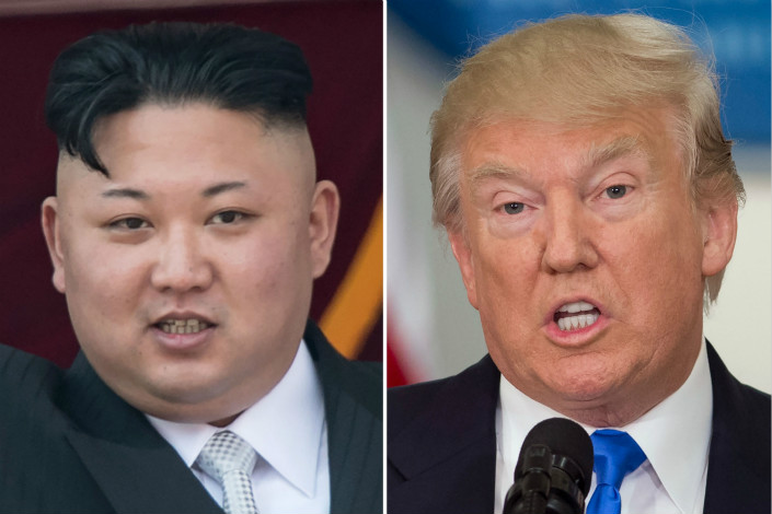 The U.S. government vowed to block any property held by the six Chinese companies and one individual it sanctioned for aiding North Korea. U.S. President Donald Trump recently praised North Korean leader Kim Jong Un (left) for backing off on plans to fire missiles toward the U.S. Pacific territory of Guam. Photo: Visual China