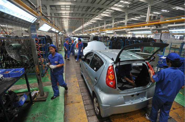 BYD Auto Co. Ltd. says its planned new battery-powered subcompacts will target third- and fourth-tier cities and gradually dominate BYD's electric-vehicle car business. Above, workers construct automobiles at a BYD production line in Shenzhen, Guangdong province, in August 2010. Photo: IC