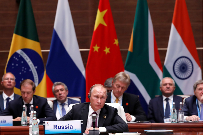 Russian President Vladimir Putin attends a plenary session of the BRICS summit in Xiamen on Monday. Photo: Visual China