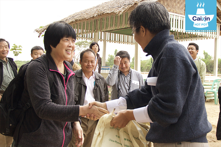 Jin Jiaman visits a project site in Myanmar. Photo: Global Environmental Institute