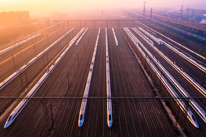 Construction on a China-backed, 480-mile high-speed rail link between the Russian cities of Moscow and Kazan may begin in the first half of 2018. Above, high-speed trains sit in a maintenance base in Wuhan, Hubei province, in December 2014. Photo: Visual China