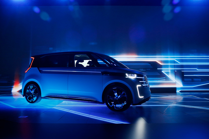 Chinese battery-maker CATL is one of a handful of battery-makers now competing for contracts tied to Volkswagen's evolving program for all-electric vehicle production. Above, Volkswagen unveils its BUDD-e electric car during the CES International in January 2016 in the US. Photo: IC