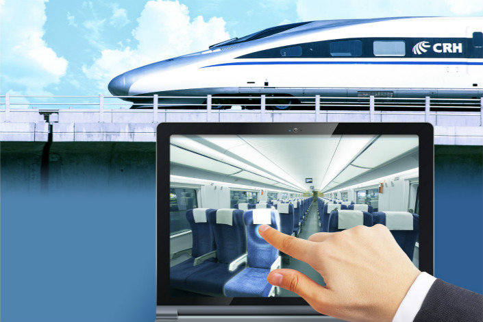 A new service of China's high-speed rail operator will allow passengers to select seats from a map that pops up during the booking process. Photo: IC