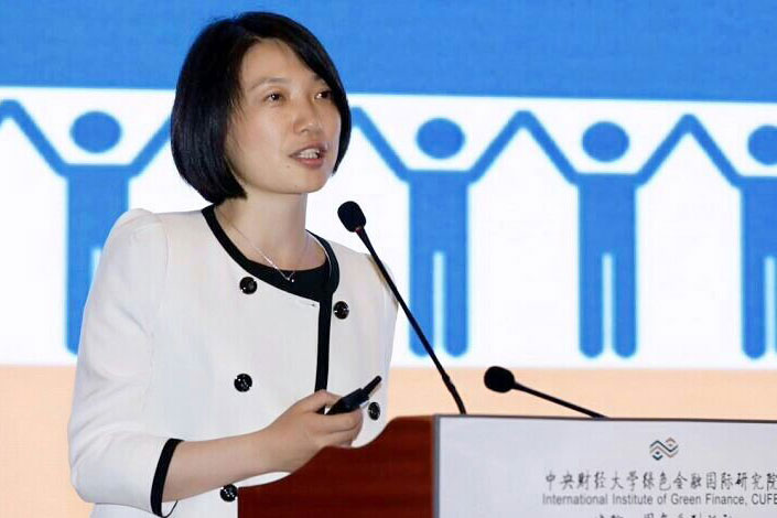 Professor Wang Yao, head of the International Institute of Green Finance (IIGF) at Central University of Finance and Economics in Beijing, speaks at an event to mark the first anniversary of the institute on Sept. 20. Photo: IIGF