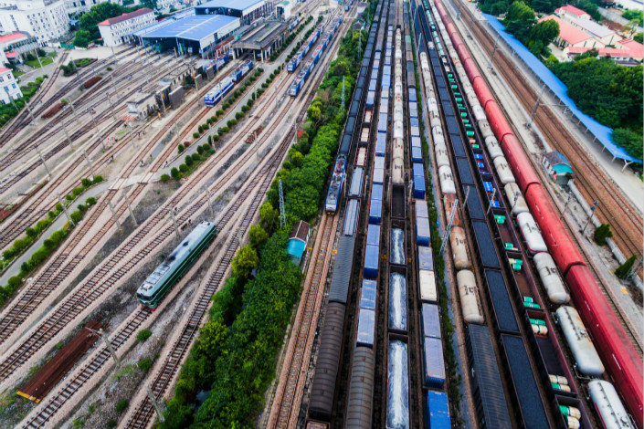 China Railway Corp., the nation's rail operator, said its cargo shipments rose 13.9% in the first three quarters of the year to 2.18 billion tons, but that number was down from 15.3% growth in the first half of the year. Above, the Nanjing East Railway Station in Nanjing, Jiangsu province, is seen on July 4. Photo: Visual China