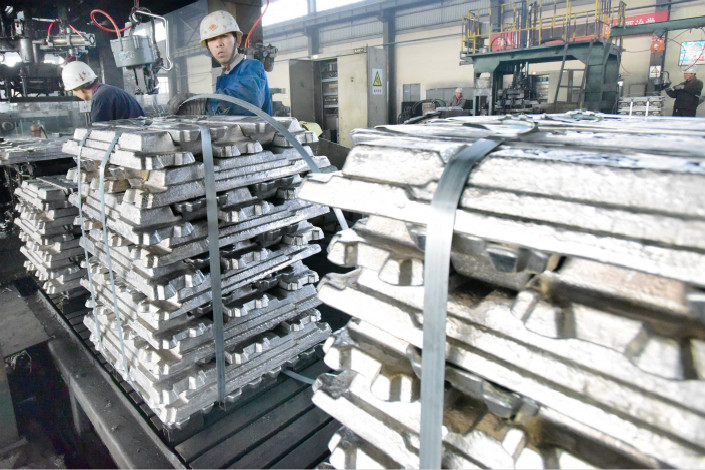 """China's Ministry of Commerce has expressed its """"strong dissatisfaction"""" over the U.S. Commerce Department's decision to impose preliminary anti-dumping tariffs on aluminum foil from the country. Above, Shaanxi Tongchuan Aluminum Co. Ltd.'s aluminum ingot production line is seen on Dec. 14. Photo: Visual China"""