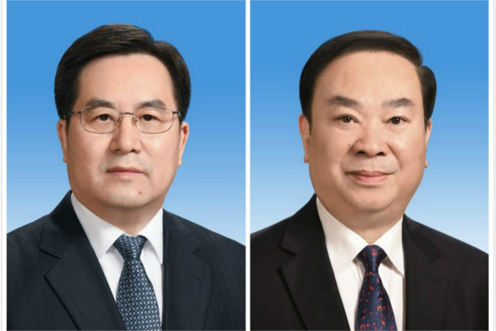 Ding Xuexiang, left, rose through the party ranks in Shanghai, his tenure overlapping with Xi's time as municipal party chief in 2007. Huang Kunming was a deputy chief of the Publicity Department of the party's Central Committee before recently being made its head. Photo: people.cn