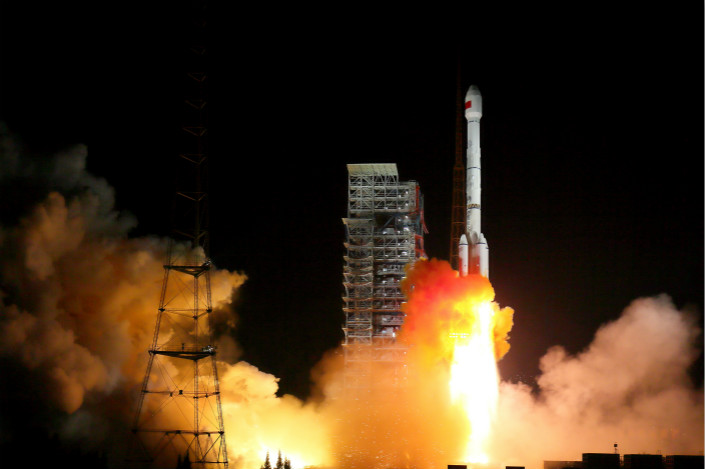 A Long March-3B rocket blasts off carrying two Beidou-3 satellites at 7:45 p.m. Beijing time on Sunday. The satellites are the infrastructure necessary to expand China's homegrown Beidou global navigation system. Photo: Visual China