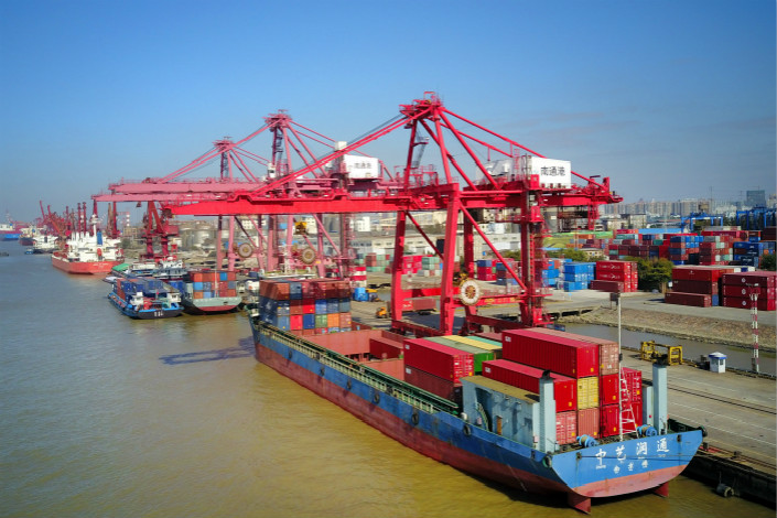 The trade figures were released hours before U.S. President Donald Trump's arrival for a three-day visit to China in which the country's large trade surplus with the U.S. is expected to be a top issue for discussion. Pictured is a port in Nantong, East China's Jiangsu province. Photo: Visual China