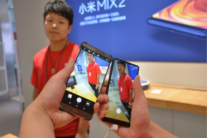 Xiaomi's sales outside of China, including those of its highest-end model, the pictured Mi MIX 2, now account for 43% of its total, according to data from IDC. Photo: Visual China