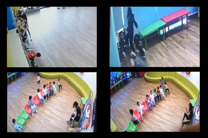 In video footage spanning four months, parents found 61 occasions in which children were allegedly mistreated at Ctrip's day care center for employees in Shanghai. The pictured screenshots, taken from closed-circuit television footage of the day care center, show examples of alleged mistreatment. On the upper left, a day care center teacher pins a child to a shelf with a chair. On the upper right, a teacher kicks a child. On the lower left, a teacher feeds what parents suspect is the bitter herb wasabi to a child. Photo: Caixin