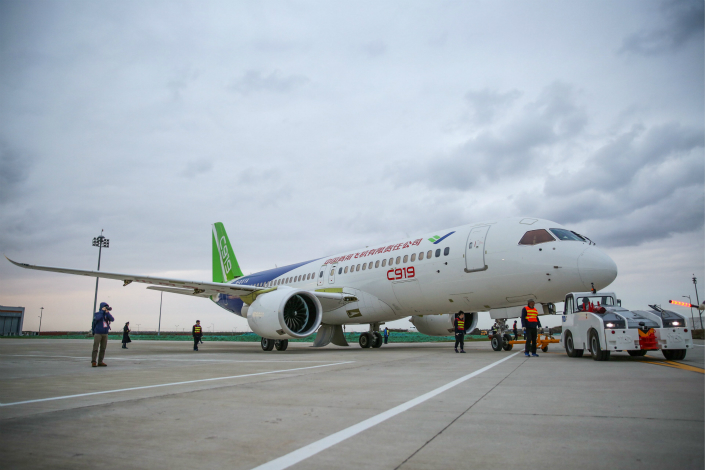 China has been in negotiations with the EU and the U.S. for years to get its aviation standards recognized by international regulators. The deals should make it easier for China's domestically produced aircraft, such as Commercial Aircraft Corp. of China's C919 (pictured), to be used outside the country. Photo: IC
