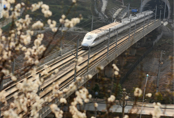 A government inspection that discovered water leaking into several tunnels along the Shanghai-Kunming high-speed rail line was part of a broader clampdown targeting rogue contractors. Above, a bullet train travels on the Shanghai-Kunming high-speed rail line on Feb. 22. Photo: IC