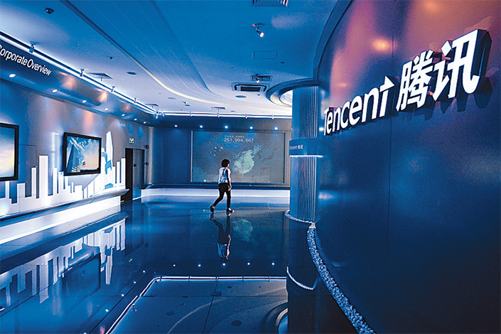 Tencent Holdings Ltd. and Chinese internet rival Alibaba Group Holding Ltd. both zoomed into the global top 10 this year, as shares of the pair soared on bullishness about their growth prospects.Photo: IC