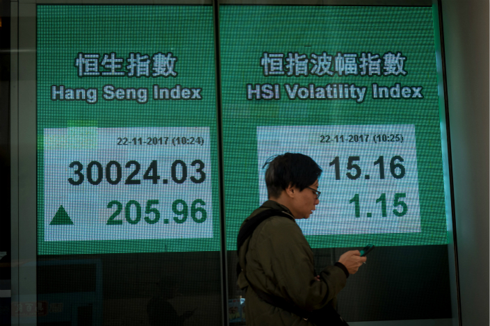 While analysts predict the Hang Seng Index will continue to experience strong growth through the first half of 2018, the U.S. Federal Reserve hiking interest rates could cause it it drop sharply by the year's end. Photo: Visual China