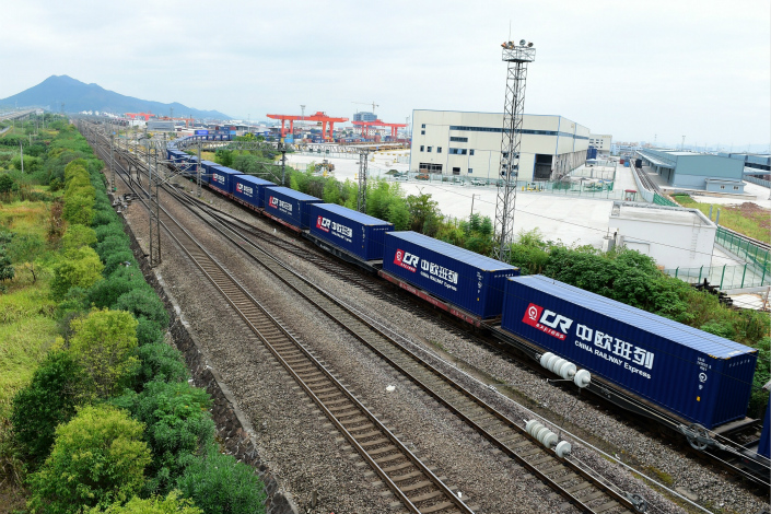 The agreements will expand China's Belt and Road initiative to cover all of the central and eastern European nations, bringing the total number of foreign countries included in the initiative to 70. Above, the first China Railway Express freight train running to Prague from Yiwu, departs from the eastern Chinese city in September. Photo: IC