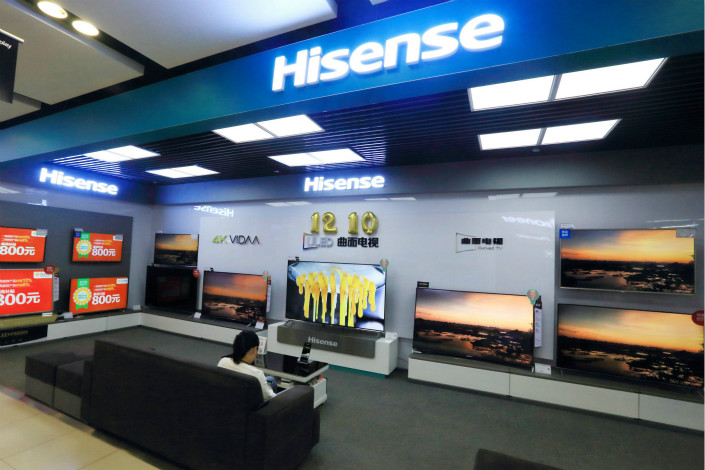 In its lawsuit, Chinese electronics manufacturer Hisense has demanding that three Sharp units pay it $1.5 million in compensation for infringing on one of its patents. Photo: Visual China