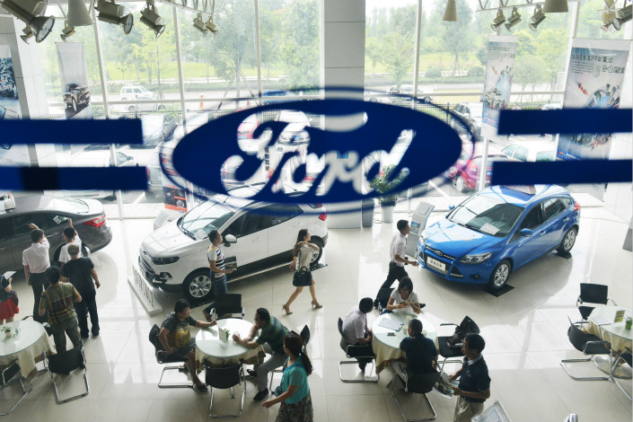 Ford is a relatively small player in China due to its late arrival, and has seen sales slow in 2017 after several years of rapid growth as it plays catch-up to more established foreign rivals. Photo: Visual China