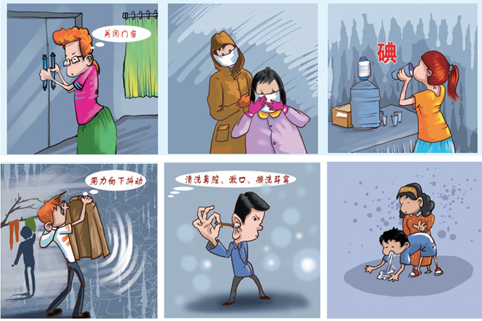 Cartoons about nuclear war published in the Jilin Daily tell people to cover themselves up, keep clean and even induce vomit if they suspect they have consumed contaminated water or food.  Photo: Caixin