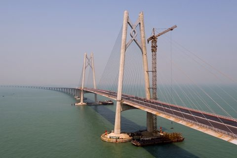 The Hong Kong-Zhuhai-Macau bridge runs for 55 kilometers (34 miles) and is designed to put the three cities within an hour commute of each other. Photo: Visual China