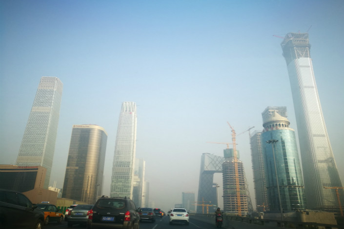 """The air quality in Beijing (pictured on Nov. 3) and the nearby city of Tianjin and province of Hebei deteriorated in the first 10 months of this year, with 22 fewer """"blue sky days"""" than the same period in 2016. Photo: Visual China"""